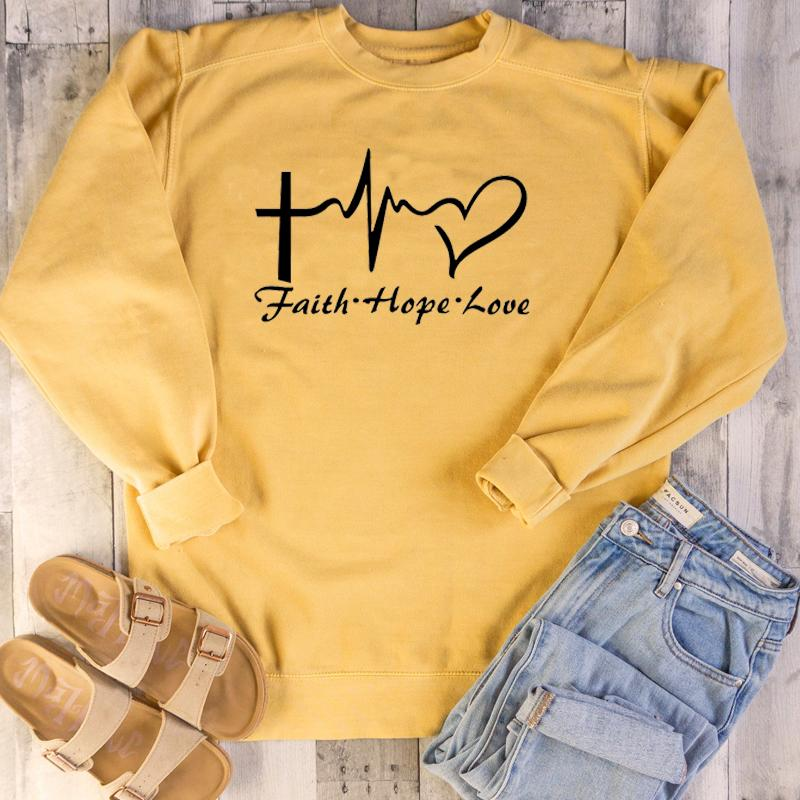 Faith Hope Love Women Sweatshirt Crewneck Pullover Heartbeat Graphic Harajuku Hoodie Christian Jesus Clothes Drop Shipping tops