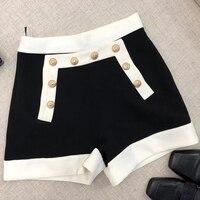 women shorts casual summer 2018 patchwork zipper shorts high waist shorts
