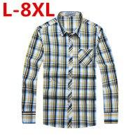 플러스 사이즈 8XL 6XL 5XL 4XL 2017 새로운 남성 농축 모조 모직 격자 무늬 셔츠 옷깃 레저 긴 소매 셔츠 Camisa Masculina