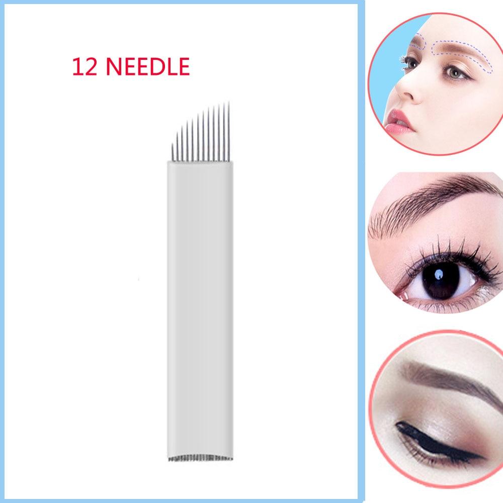 Makeup 12 pinů 3D výšivky Sterilizované nerezové oceli permanentní make-up jehly pro obočí na rty výšivky Microblading zásoby