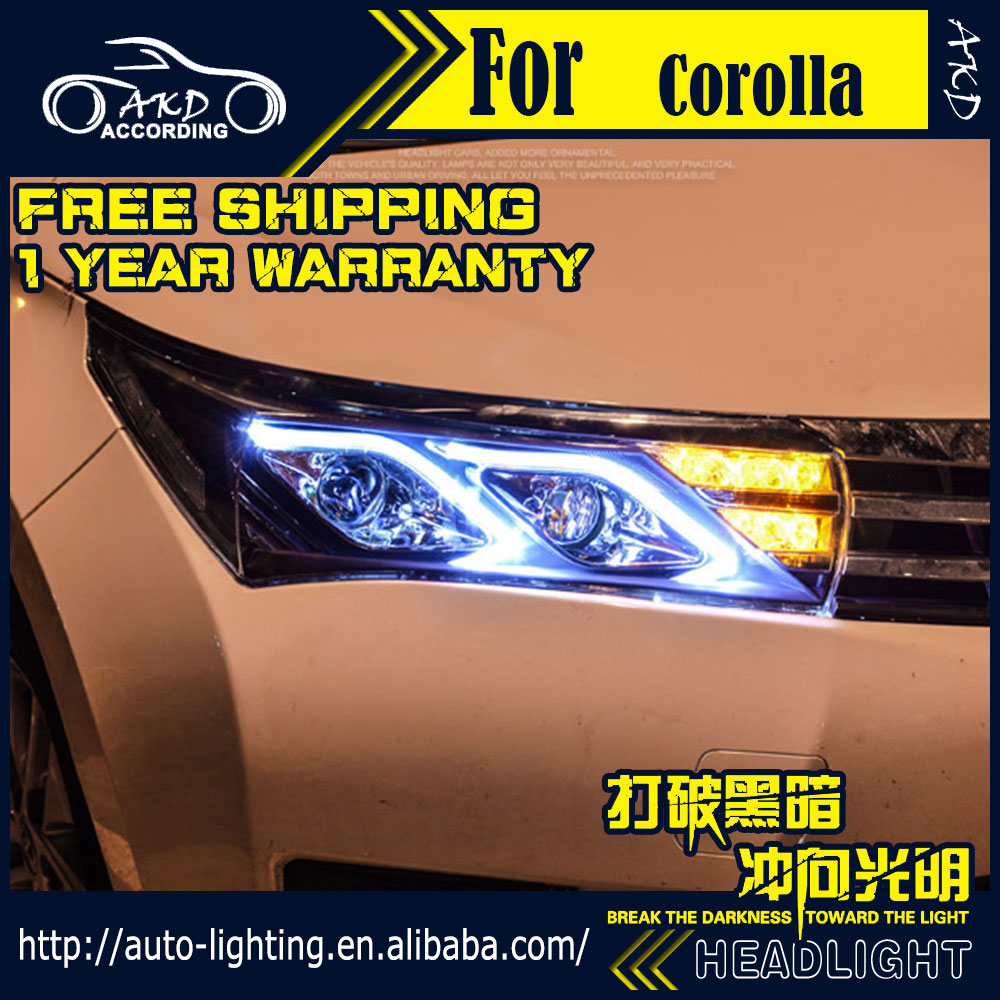 AKD Car Styling Head Lamp for Toyota Corolla Altis LED Headlight 2014-2016 LED DRL H7 D2H Hid Option Angel Eye Bi Xenon Beam universal pu leather car seat covers for toyota corolla camry rav4 auris prius yalis avensis suv auto accessories car sticks
