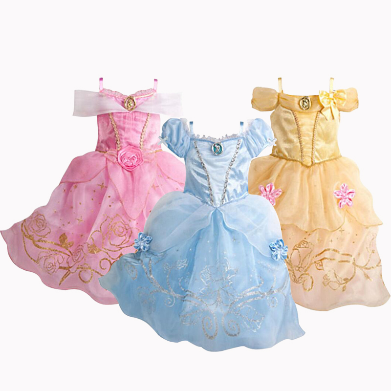 New Girls Dresses Cartoon Cosplay Cinderella Princess Dress Kids Summer Dress For 2-10 Years Old 3 Color Baby Children Clothing hello bobo girls dress collection of sports in the new year is suitable for 2 to 6 years old children s clothing
