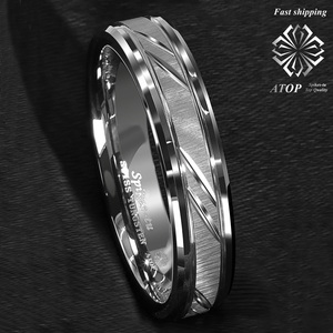 Image 4 - 6mm Tungsten Carbide Ring Silver leaf New Brushed Style Bridal ATOP Jewelry