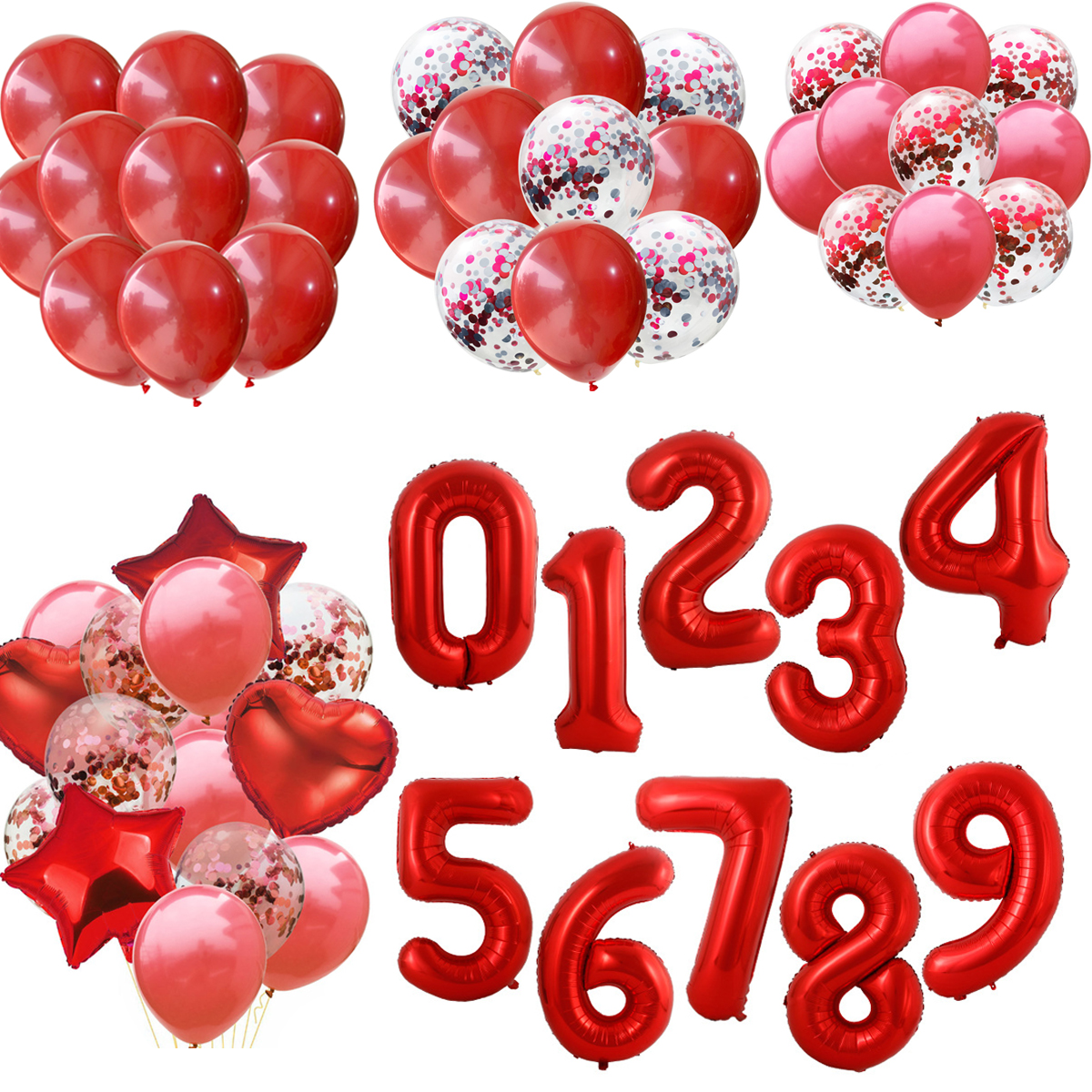 40 Inch Red Big Size Number Foil Helium Balloons 0 <font><b>1</b></font> 2 3 4 5 6 7 8 9 Birthday Party Baby Shower Decoration Large Globos Balloon image