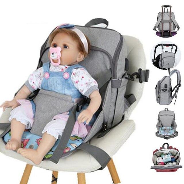 USB dinant la chaise imperméable sac à couches pour maman maternité Nappy sac à dos bébé poussette organisateur siège soins infirmiers sac à langer soins