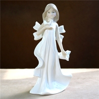 Porcelain Pigeon Fairy Figurine Handmade Ceramics Nymph Maiden Statue Decoration Gift and Craft Ornament Accessories Furnishing