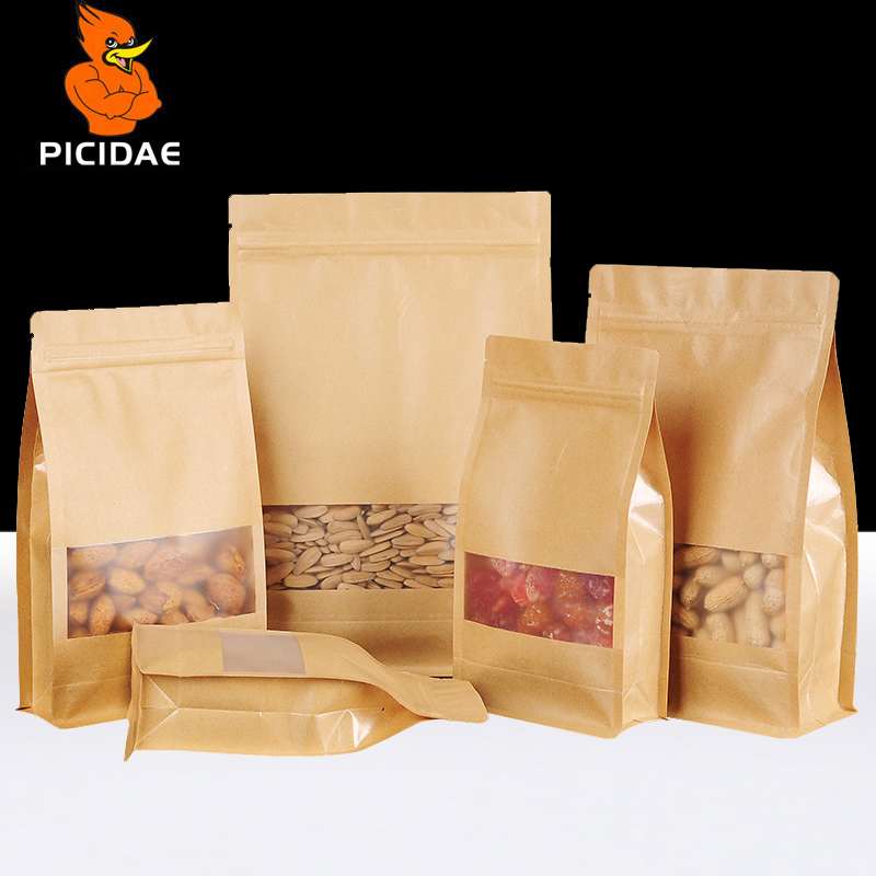 Kraft Paper Eight Side Seal Storage Bag Packing Organ Frosted Window Nut Snack Food Zip Lock Standing Zipper Chocolate Coffee in Storage Bags from Home Garden
