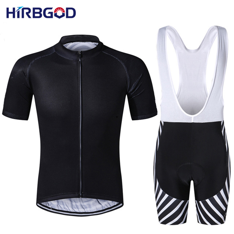 HIRBGOD 2016 new design mens solid all black bike cycling sets summer short tracksuits for men white stripe mtb kits,NM311