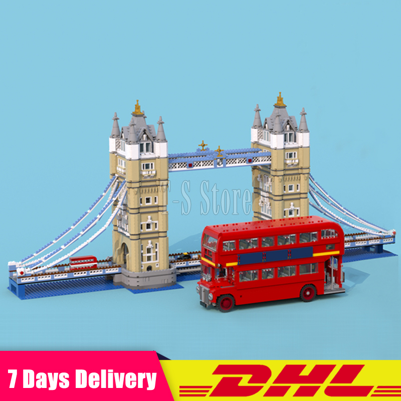 LEPIN 17004 London Tower Bridge+21045 London Bus Set Building Blocks Bricks Model Toys Compatible Legoinglys 10258 10214 lepin 21045 united kingdom britain london double decker bus building kit blocks bricks toy for gift 10258