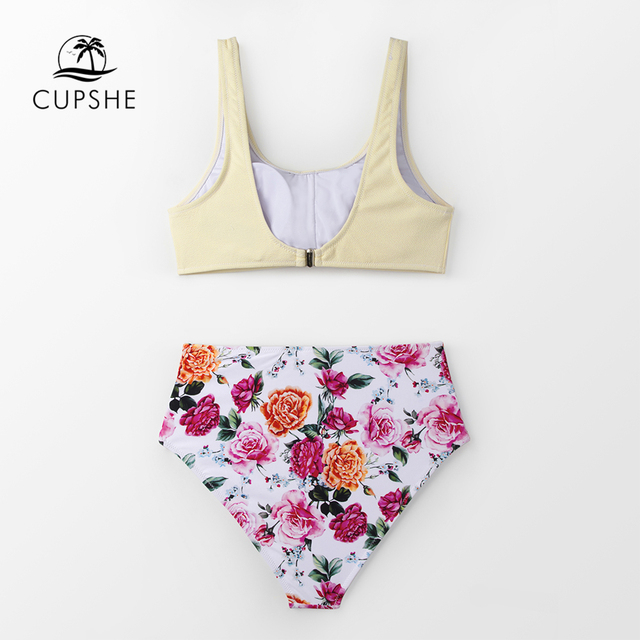 CUPSHE Solid Tie-Front Tank And Floral High-Waisted Bikini Sets 2020 Women Boho Button Two Pieces Swimsuits 5