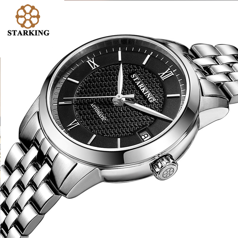 STARKING Relogio Masculino Women Automatic Mechanical Watches Luxury Famous Brand Skeleton Stainless Steel Sapphire Wrist Watch