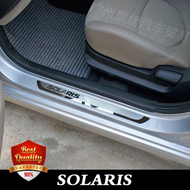Solaris Aço Inoxidável Stee Soleiras de Porta Placa de Chinelo apto para Hyundai SOLARIS 2010-2017 hatchback e sedan porta dual tone soleiras