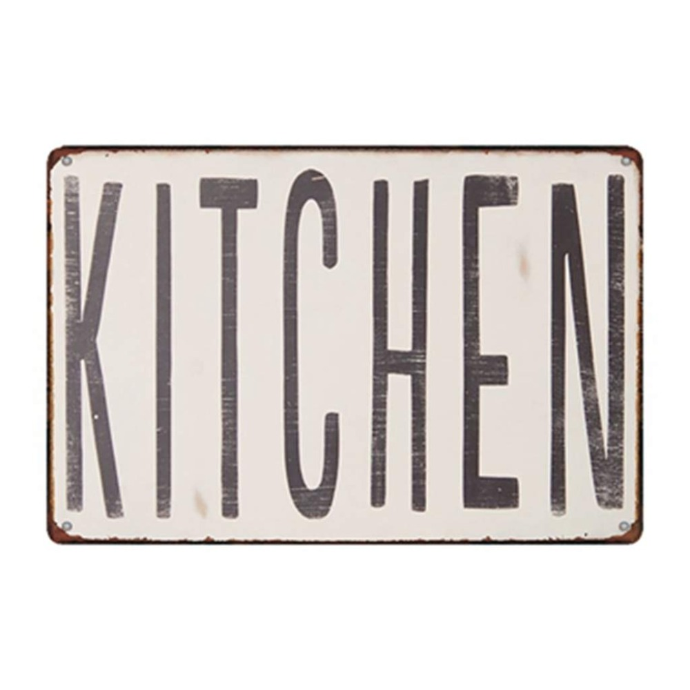 Kitchen Sign Vintage Metal Rustic Tin Sign Farmhouse Country Pantry Wall Decor Art Eat Decorations