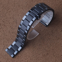 High Quality Watchband Ceramic Matte and polished Black straps Watches Accessories 18mm 20mm 22mm quick release Pins spring bars