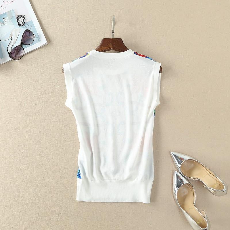 Femmes Européenne S'unir Tricot Nouveau Pour Pull 2018 Printemps Le Sans Royal Impression Vêtements Manches Gilet 8x5qPpw