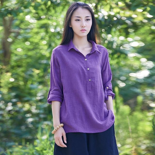 4194e3804a5722 Summer Style White Long sleeve Women Blouses Gray Loose Plus size Linen  Shirt Brand Mori girl