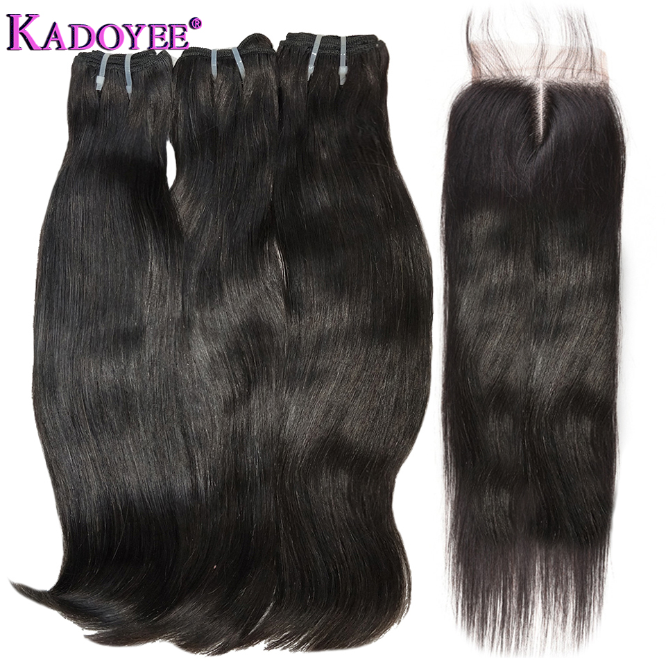 Natural Straight hair bundles with closure 3 Bundles With Closure Double Drawn Funmi Hair Extensions For