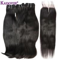 Природный прямые волосы Связки с закрытием 3 Связки с застежка дважды обращается наращивание волос funmi для черная, женская, для волос ткань