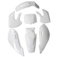 TDR Двигатели Новый Белый Пластик Крыло Тела Обтекателя Комплекты 7 ШТ. для Kawasaki KLX KLX111 TC076 HHY