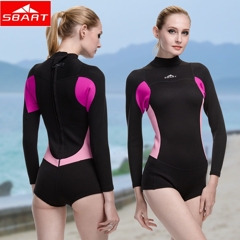 SBART 2016 New Style Neoprene Wetsuit Women 2MM Surfing Wetsuits One Piece Swimming Snorkeling Diving Wet Suit Long Sleeve women 1 5mm neoprene professional heated wetsuit vest one piece sleeveless swimming diving vest surfing snorkeling wetsuit