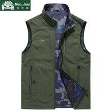 2018 Autumn Vest Men Camo Lining Cotton Vest Men M-7XL Double-wear Mul