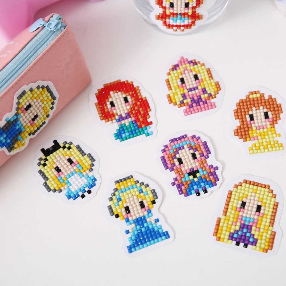DIY pattern 5D diamond painting diamond embroidery princess dress children round diamond double sided sticker Christmas
