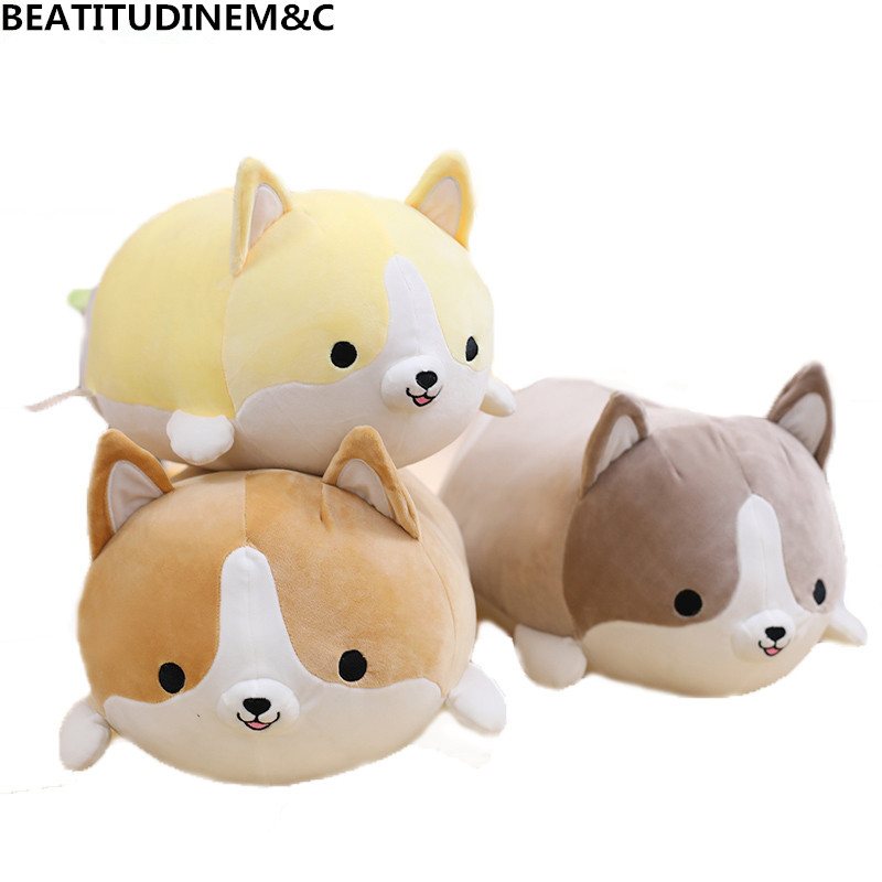 1Pcs 30cm/50cm/60cmCute Fat Corgi Dog Plush Toy Stuffed Soft Animal Cartoon Pillow Lovely Kids Toy Valentine Present