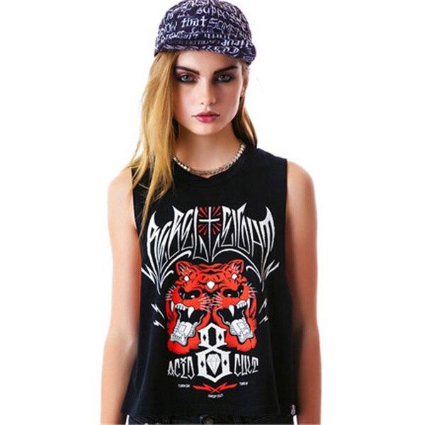 Hyt036 Punk métal Style femmes vêtements Tiger imprimer O cou sans manches  t , shirt femme