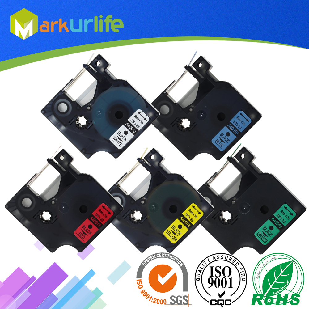 5 pcs//lot Label Cartridge for Dymo 9mm 40913 Compatible for black on white