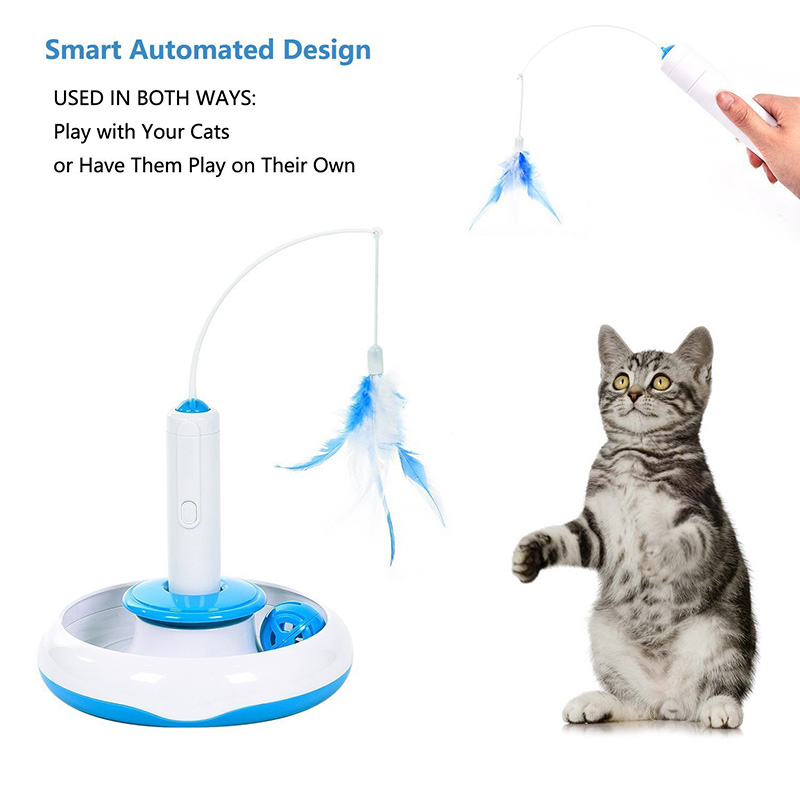 1pcs 360 Degree Electric Rotating Cat Toys Pet Teaser Interactive Cats Toy Funny Playing Feather Toys For Kitten Pet Products