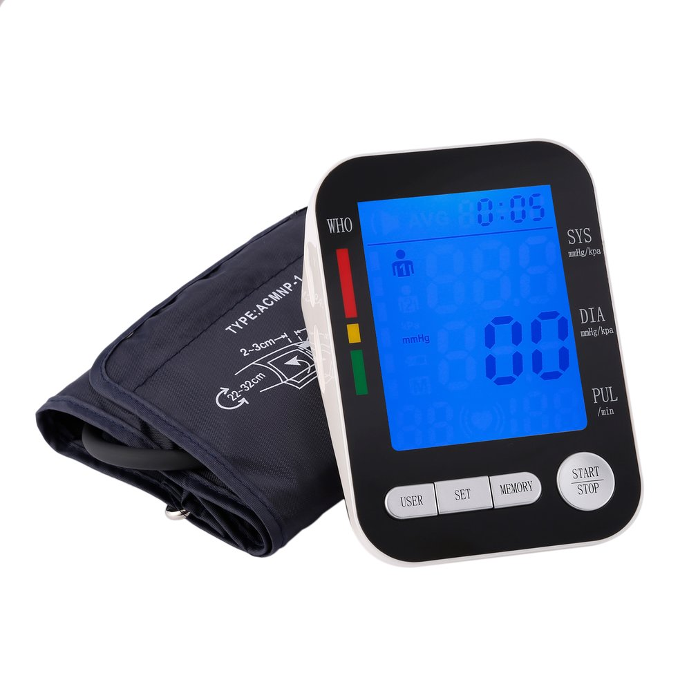 Home Health Care LCD Digital Upper Arm Blood Pressure Monitor USB Rechargeable Sphygmomanometer Heart Rate Monitor Automatic voice version digital lcd upper arm blood pressure monitor heart beat meter machine spygmomanometer portable home type free ship