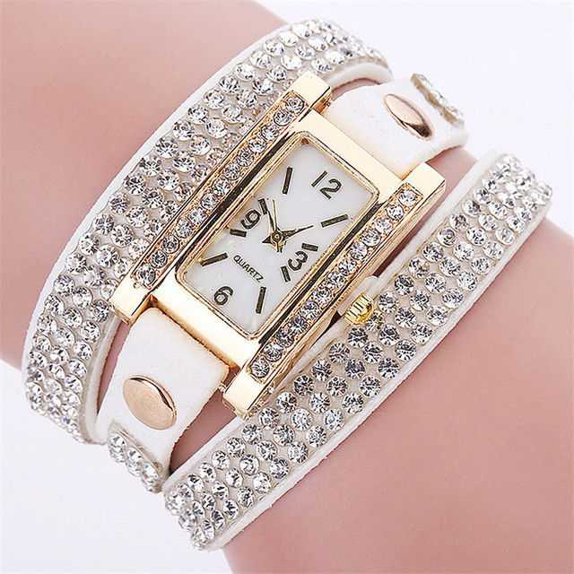 CCQ Fashion Luxury Women Rhinestone Bracelet Watch Ladies Quartz Watch Casual Wo
