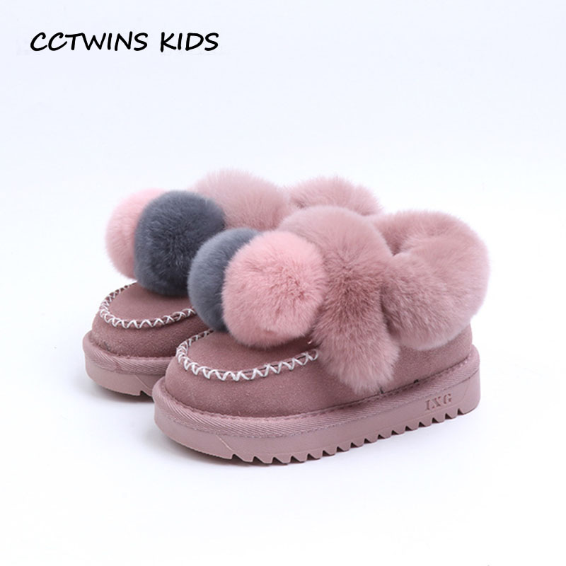 CCTWINS KIDS 2018 Winter Children Fashion Genuine Leather Shoe Baby Girl Brand Shoe Boot Toddler Black Warm Ankle Boot CS1636