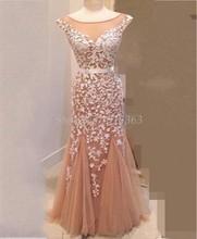 2016 Abendkleider Scoop Appliques Elegante Vestido De Festa Longo Robe De Soiree Dubai Kaftan Ballkleider Schnelles Verschiffen