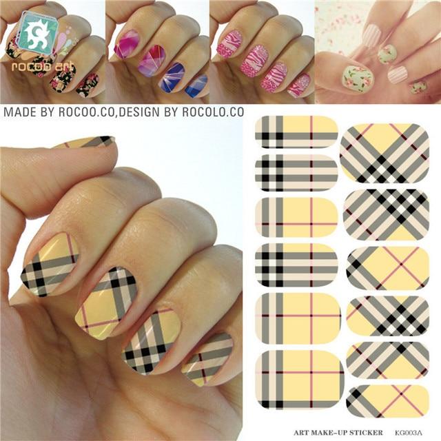 Fashion Minx nail sticker wraps Water Transfer Yellow plaid ...