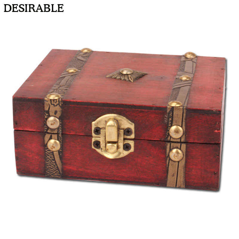DESIRABLE Vintage jewelry box pattern rivets secret treasure antique creative bracelet necklace earrings ring storage wooden box