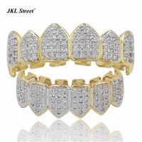 High Quality Iced Out CZ Cluster Custom Slugs Top Bottom GRILLZ Mouth Teeth Grills Set Hip