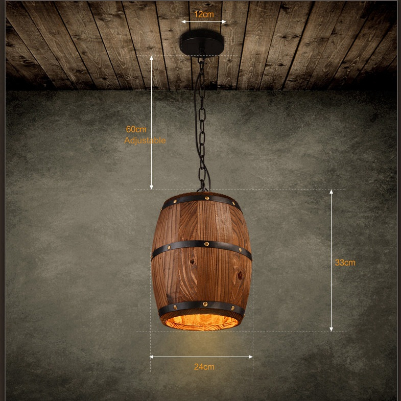 LuKLoy Pendant Lights Lamp Shade, Industrial Vintage Wood Barrel Retro Pendant Lamp Light for Bar Shop Cafe Dining Room Decor loft simple retro edison industrial clear glass metal pendant lamp lights for cafe bar dining room shop living room store decor