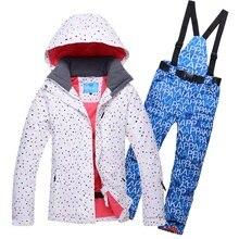 Haute Qualité VENTE!! ski Veste Femmes En Plein Air Snowboard Vêtements Ensemble Étanche Respirant Femelle Ski Costumes Moins-30 Degrés