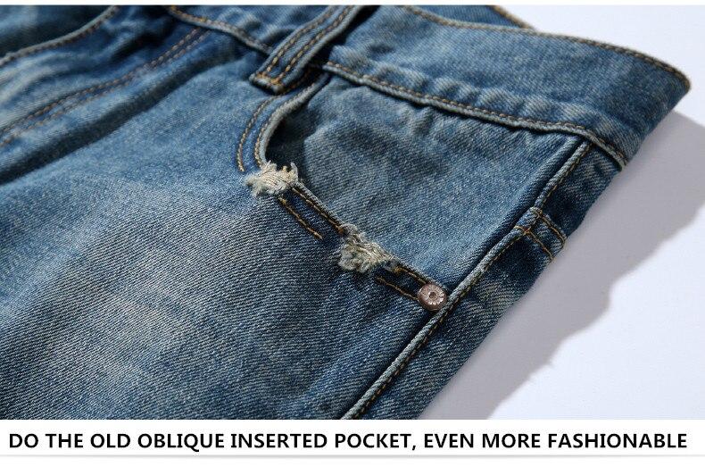 famous brand factory leather zipper jeans men deep blue slim straight pants masculina vaqueros trouse mid regular solid pencil 6