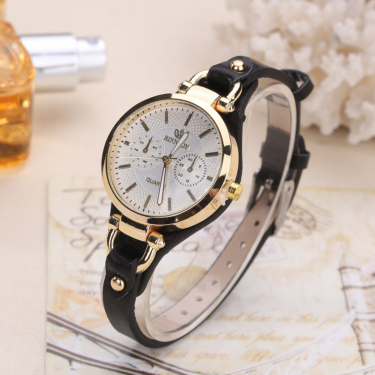 Fashion Brand Women Watches Rivet Luxury Thin Leather Gold Wristwatches Ladies Sport Quartz Watch relogio feminino Ceasuri reloj