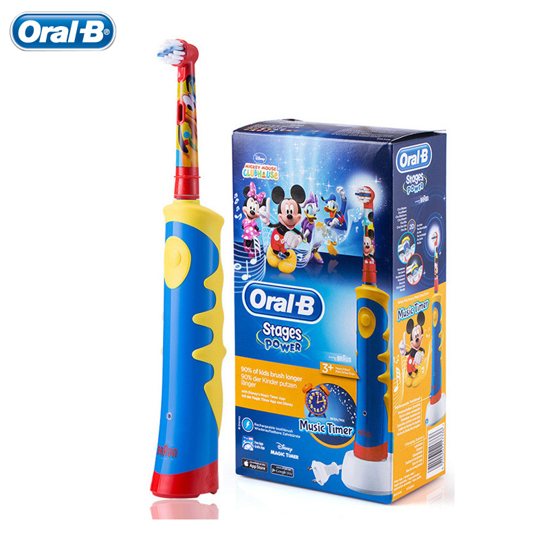 Oral B Children Electric Toothbrush D10 Music Timer Rechargeable Tooth Brush Teeth Whitening Mickey Mouse for Kids  Ages 3+ 2017 teeth whitening oral irrigator electric teeth cleaning machine irrigador dental water flosser professional teeth care tools
