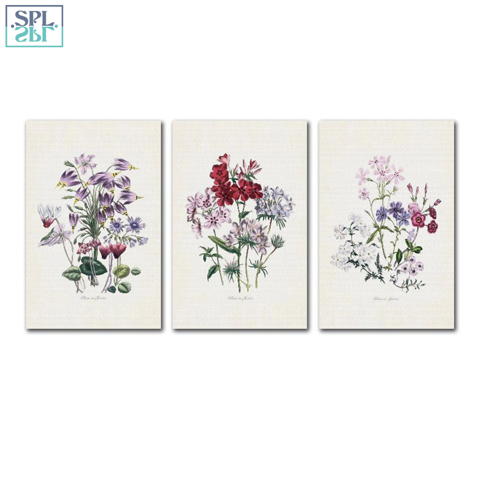 SPLSPL European Style Watercolor Plant Flowers Canvas Print Poster Painting Hand Drawn Wall Art Picture for Home Decor Framed