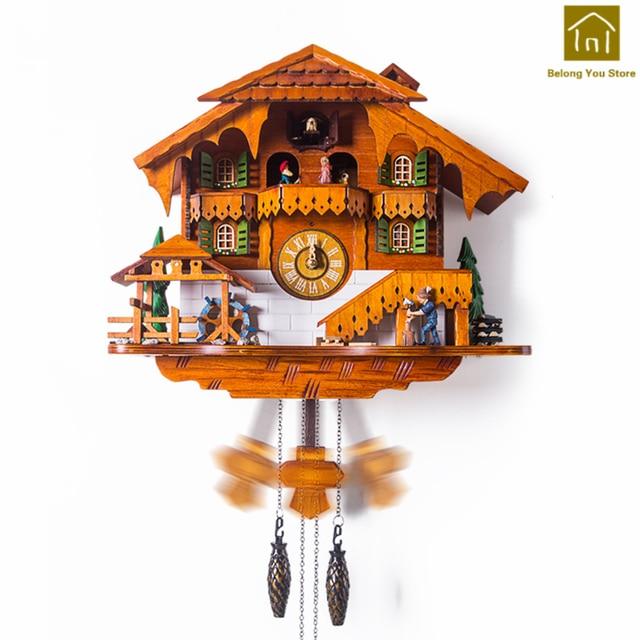 4e2f2c184d33 Creativo habitación Reloj de Pared de madera de diseño moderno relojes de cuco  Reloj Parede tiempo