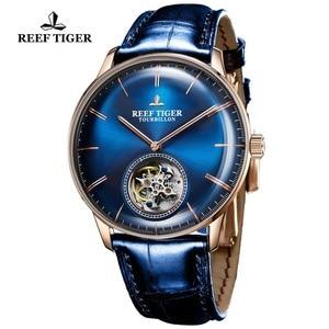 Image 5 - Reef relógio mecânico automático tiger/t, relógio masculino de couro genuíno com turbilhão azul, rga1930