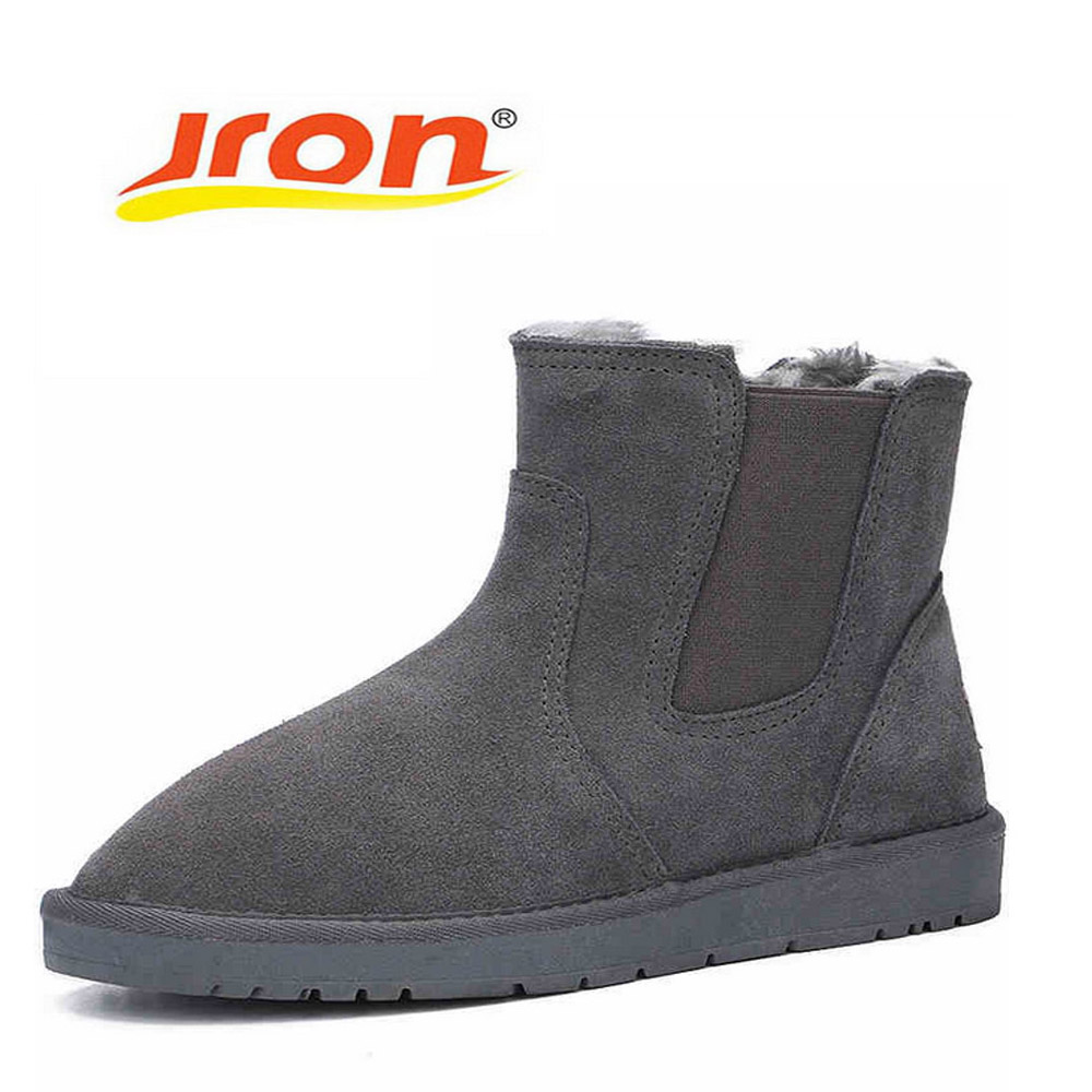 Jron Genuine Wool Unisex Snow Boots High Quality TPR Rubber Sole Anti-slip Function Warm Winter Ankle Boots For Winter Autumn 2017 new  warm solid anti slip snow