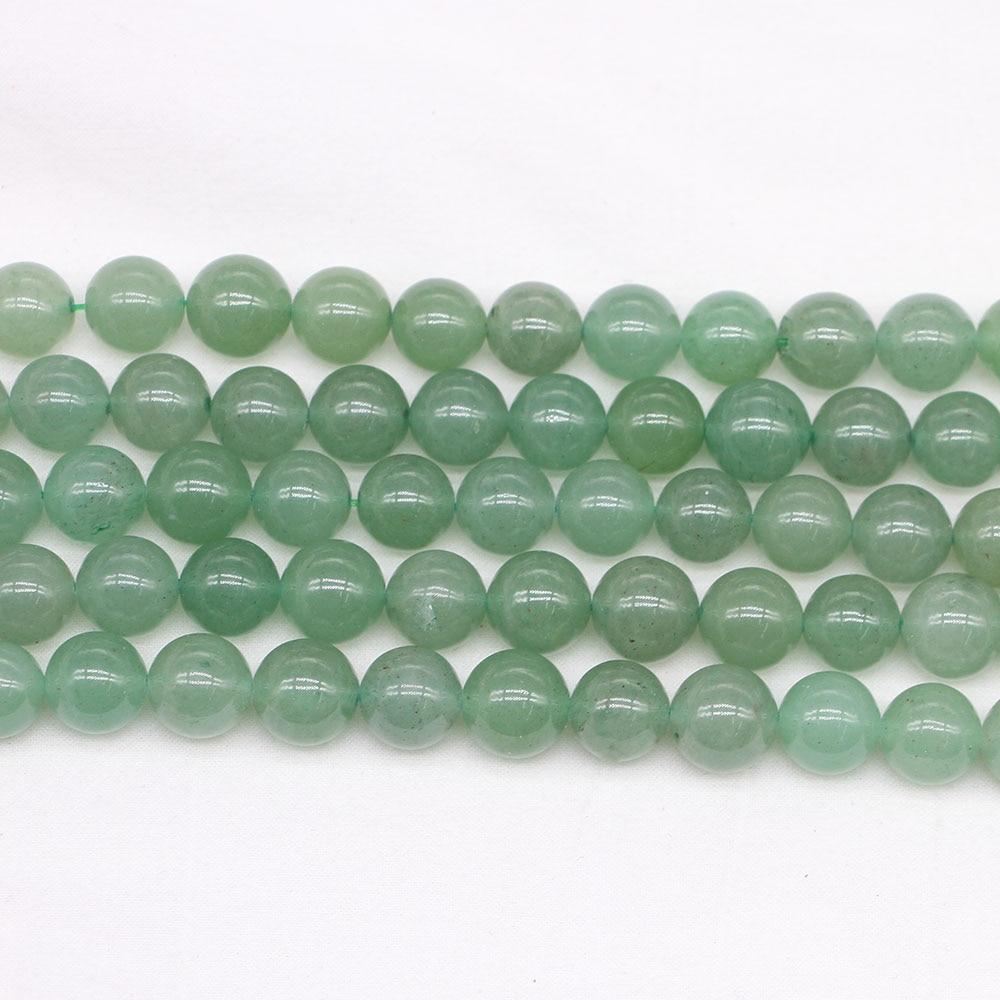 448142a29a61 4 6 8 10 12mm cuentas de piedra de Aventurina verde Natural cuentas  espaciadoras sueltas redondas para hacer joyería hallazgos DIY pulsera al  por ...
