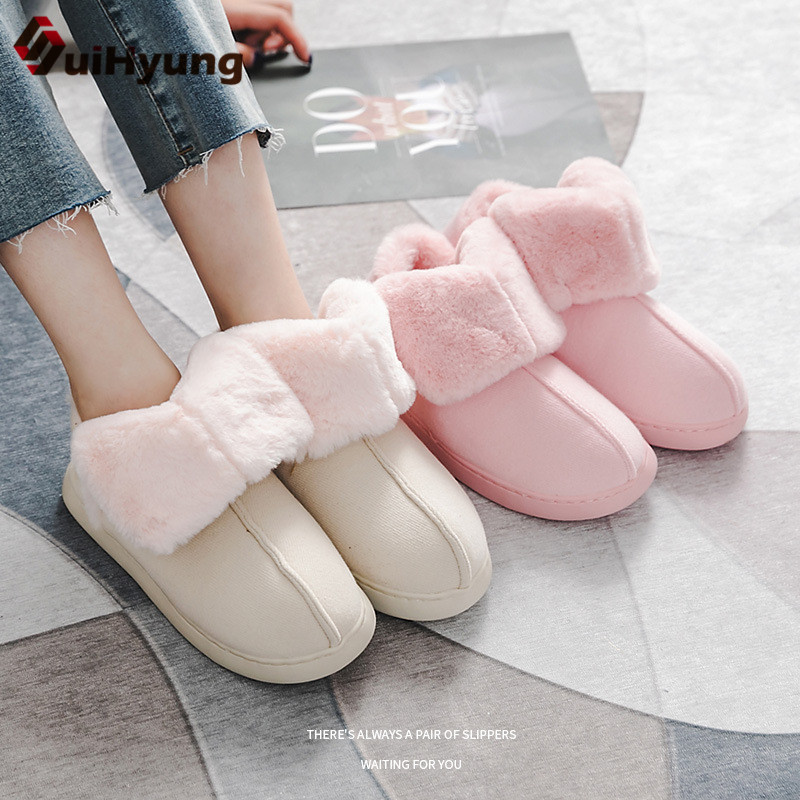 Suihyung New Winter Cotton Shoes Women Men Warm Plush Home Slippers Indoor Floor Shoes Slip-On Fleeces Inside Woman Ankle Botas new new men women soft warm indoor slippers cotton sandal house home anti slip shoes