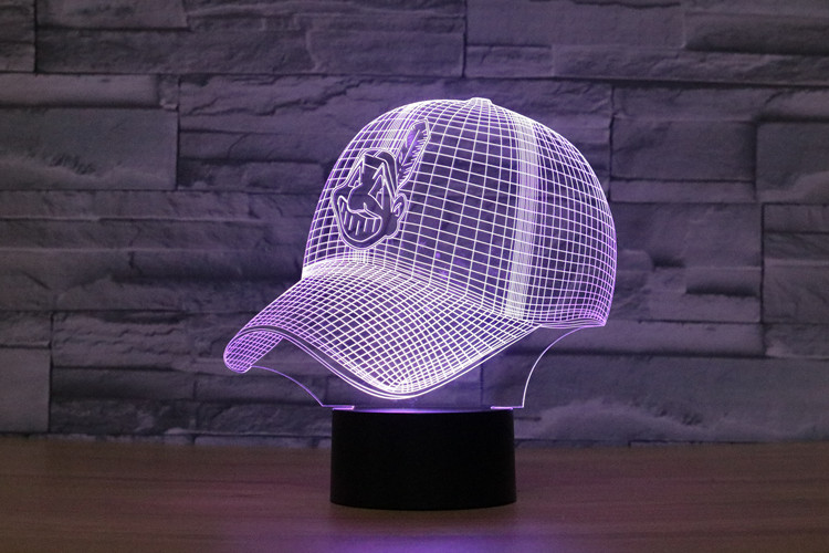 3D LED Cleveland Indians Football Helmet Night Light Touch 7 Colors Desk Lamp Changing USB Table lamps For Kid Gifts Toys
