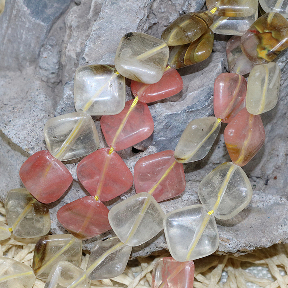 Free Shipping Multicolor Watermelon Tourmaline Jasper 14mm stoneDrilled Square Crystal Loose Beads Jewelry Making 15inch F138GS